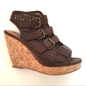 Buckle Not Rated Sz 9 M Brown Cork Wedge Sandals